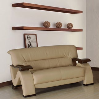 Selina Bonded Leather Cream Modern Loveseat