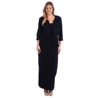 Alex Evenings Women's Plus 2-piece Navy Bolero Jacket and Dress Set