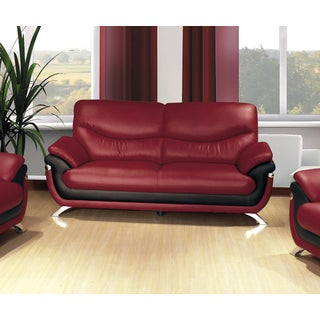 Alicia Red/ Black Faux Leather Modern Loveseat