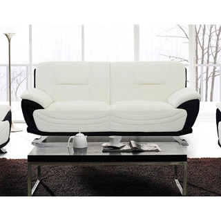 Alicia White/ Black Faux Leather Modern Loveseat