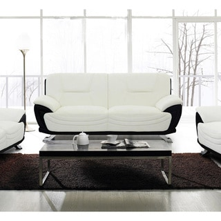 Alicia White/ Black Faux Leather Modern Sofa