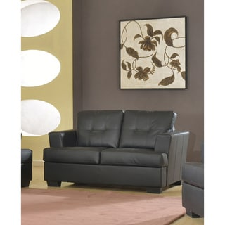 Nova Black Bonded Leather Modern Loveseat