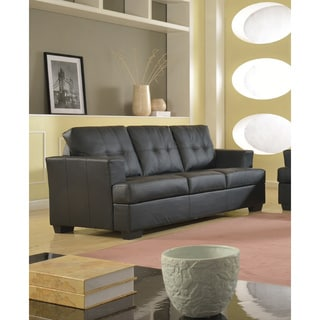 Nova Black Bonded Leather Modern Sofa