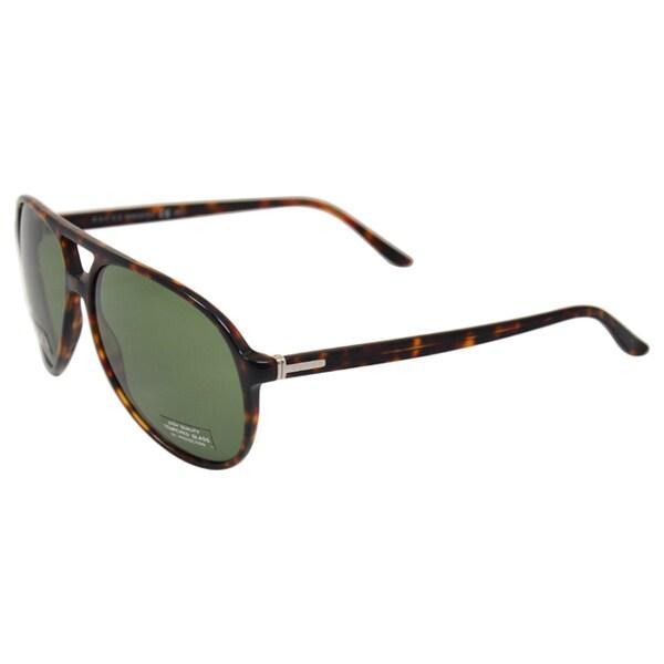 Gucci Unisex Dark Havana/ Green Sunglasses