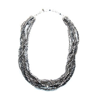 Sparkling Crystal and Metal Bead Stainless Steel Chain Necklace (China)