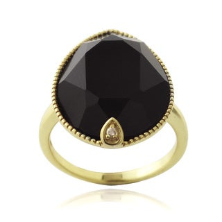 Glitzy Rocks 18k Gold over Silver Onyx and White Topaz Pear-cut Ring