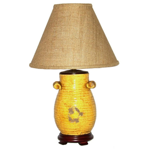 Distressed Handled Honey Mustard Pot Table Lamp