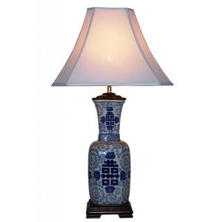 Blue and White Symbol 1-light Porcelain Table Lamp