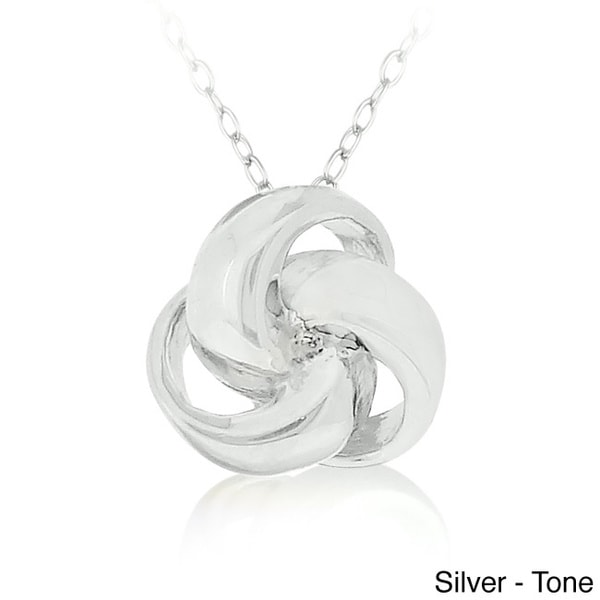 Mondevio Sterling Silver or Gold Overlay Love Knot Necklace 11880625