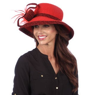 Swan Women's Dressy Chenille Ribbon Hat-Red/Black