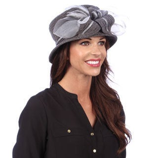 Swan Women's Dressy Grey/ Silver Chenille Ribbon Hat
