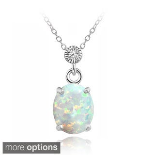 Glitzy Rocks Sterling Silver or Gold over Silver Synthetic Opal/ CZ Oval Necklace