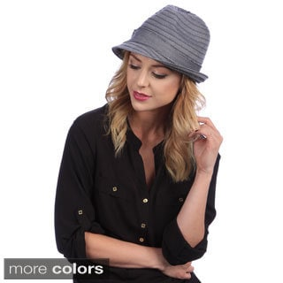 Swan Women's Denim Ribbon Packable Wool Fedora Hat