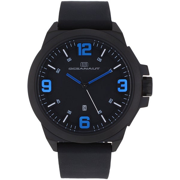Oceanaut Men's OC7111 Black Pilot Watch with Blue Luminous Hands