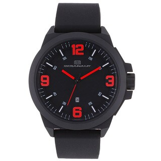 Oceanaut Men's OC7113 Black Pilot Watch with Red Luminous Hands
