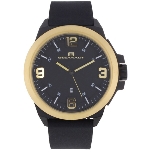 Oceanaut Men's OC7114 Black Pilot Watch with Gold Luminous Hands