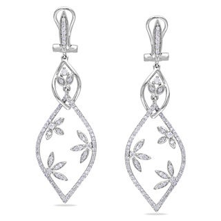 Miadora 14k White Gold 7/8ct TDW Diamond Leaf Design Earrings (G-H, I2-I3)