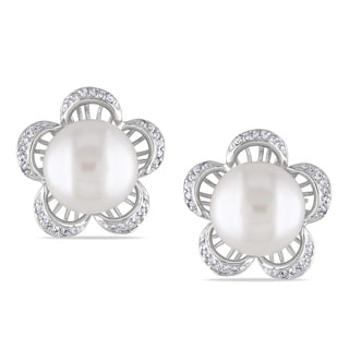 M by Miadora Sterling Silver White Pearl and Cubic Zirconia Earrings (9-10 mm)