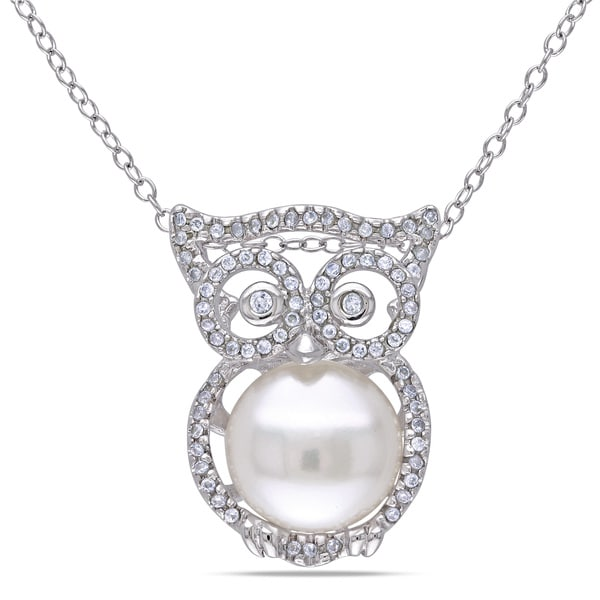 Miadora Sterling Silver White Pearl and Cubic Zirconia Owl Necklace