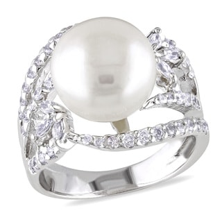 Miadora Sterling Silver White Pearl and Cubic Zirconia Ring (11-12 mm)