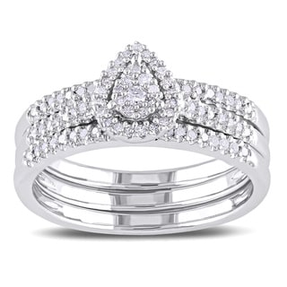 Miadora Sterling Silver 1/4ct TDW Pear Shape Diamond Bridal Set (H-I, I2-I3)