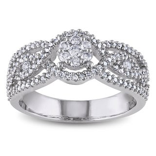 Miadora 14k White Gold 1/2ct TDW Diamond Composite Round Center Halo Ring (G-H, I1-I2)