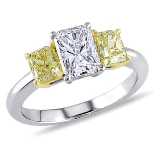Miadora 18k Two-tone Gold 2ct TDW Diamond 3-stone Ring (I-J, VVS1-VVS2)