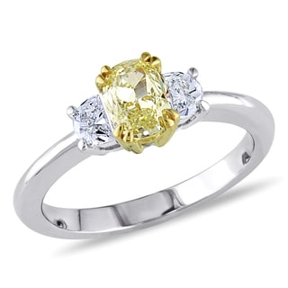 Miadora 18k Two-tone Gold 7/8ct TDW Diamond 3-stone Engagement Ring (VS1-VS2)