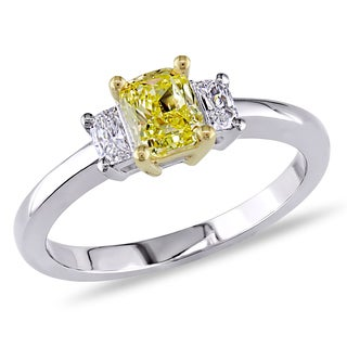 Miadora 18k Two-tone Gold 4/5ct TDW Yellow and White Diamond Ring (D-E, VS1-VS2)