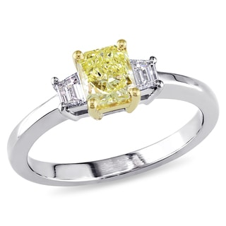 Miadora 18k Gold 4/5ct TDW Yellow and White Radiant Cut Diamond Ring (D-E, VS1-VS2)