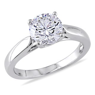 Miadora 14k White Gold 1 3/4ct TDW Certified Solitaire Diamond Ring (J-K, SI1-SI2)