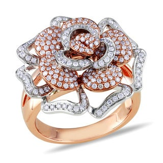 Miadora 14k Two-tone Gold 1ct TDW Diamond Flower Ring (G-H, SI1-SI2)