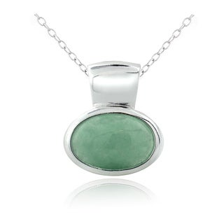 Glitzy Rocks Sterling Silver Jade Oval Necklace