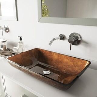 Vigo Rectangular Russet Glass Vessel Sink and Chrome Wall Mount Faucet Set