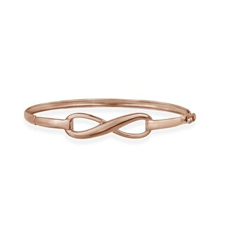 Mondevio Rose Gold over Silver Infinity Design Bangle Bracelet
