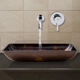 VIGO Rectangular Brown/Gold Fusion Glass Vessel Sink and Wall Mount Faucet Set