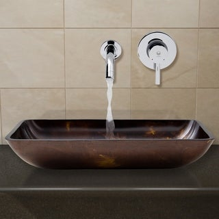 Vigo Rectangular Brown/Gold Fusion Glass Vessel Sink and Wall Mount Faucet Set