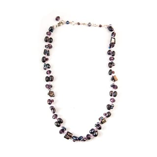 Lavender Hand-knotted Freshwater Pearl and Crystal Necklace (China)