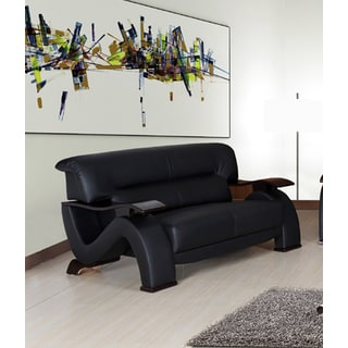 Selina Bonded Leather Black Modern Loveseat