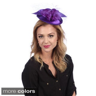 Elegant Covered Satin Fascinator with Mesh Net and Feathers