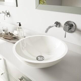 Vigo Flat Edged White Phoenix Stone Glass Vessel Sink with Chrome Wall Mount Faucet