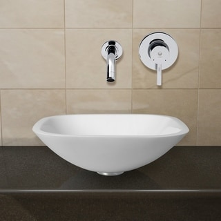 Vigo Square Shaped White Phoenix Stone Glass Vessel Sink with Chrome Wall Mount Faucet