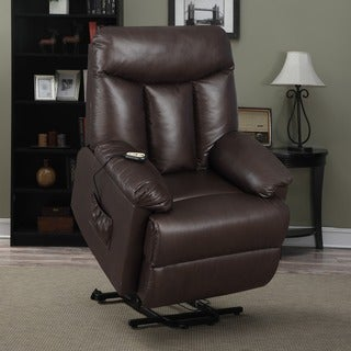 lya brown renu leather power recline and lift wall hugger chair