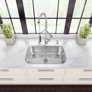 Vigo All-in-One 30-inch Undermount Stainless Steel Kitchen Sink and Faucet Set