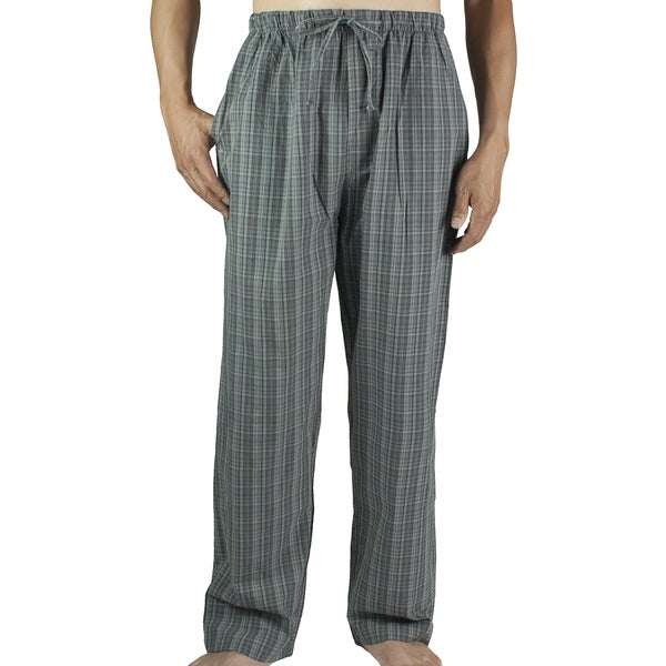 Leisureland Men's Grey Plaid Cotton Lounge Pants