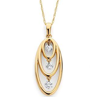 14k Yellow Gold 1/4ct TDW Floating Diamond Open Necklace (H-I, I1-I2)
