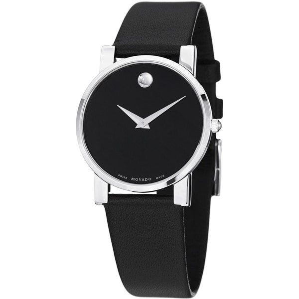 Movado Men's 0604230 'Moderna' Black Dial Black Leather Strap Quartz Watch