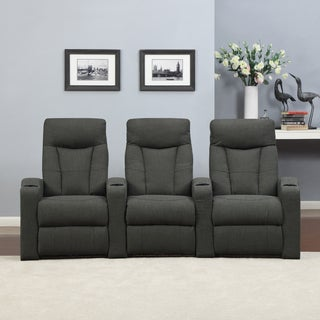 ProLounger Home Theater Charcoal Gray Linen 3 Piece Wall Hugger Recliner Chair Set
