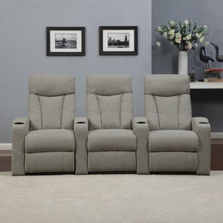 ProLounger Home Theater Barley Tan Linen 3 Piece Wall Hugger Recliner Chair Set