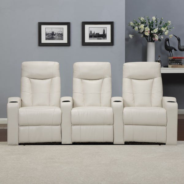 ProLounger Home Theater Cream Renu Leather 3 Piece Wall Hugger Recliner Chair Set